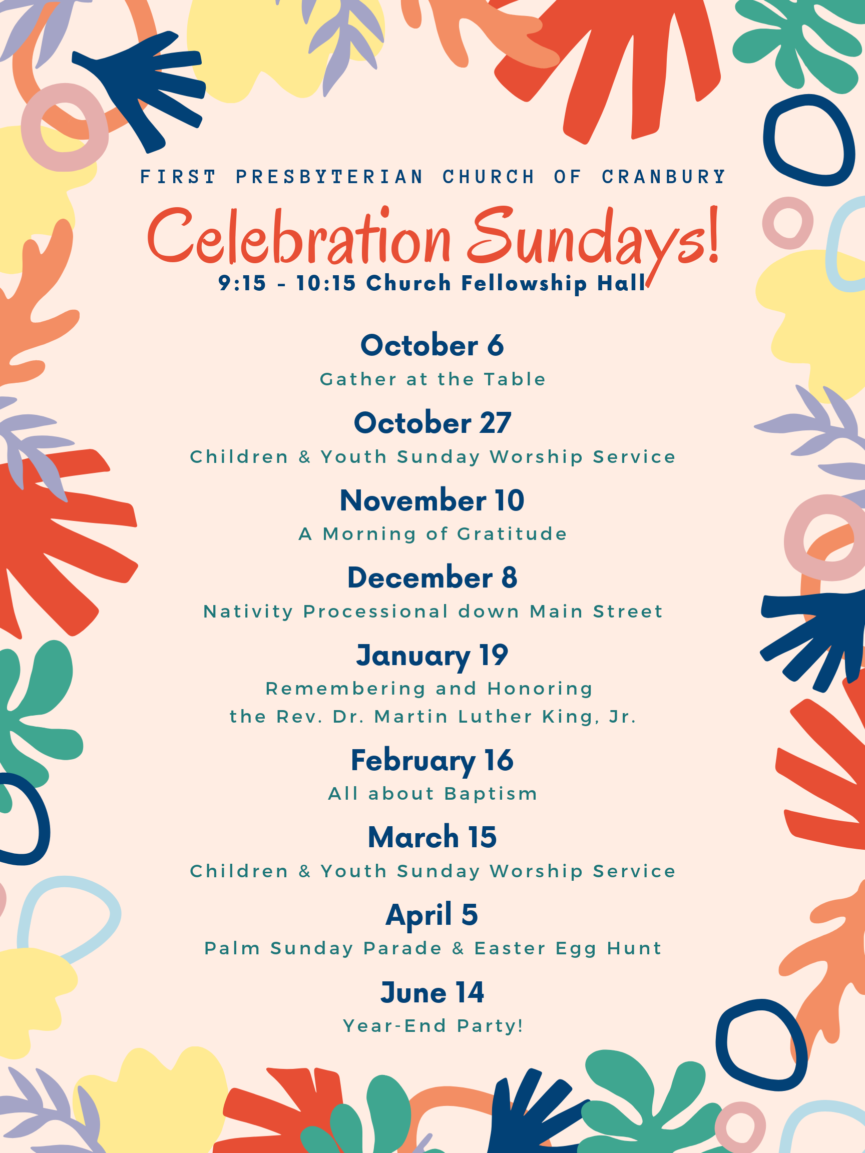 Celebration Sundays 2019-2020